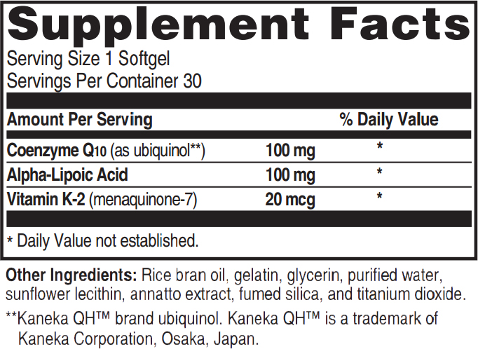 Ubiquinol CoQ10 Ingredients